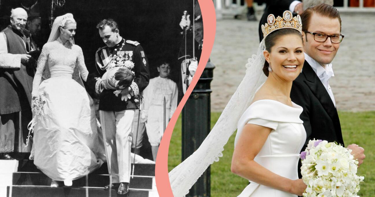 Grace Kelly och Kronprinsessan Victoria i sina respektive brudklänningar.