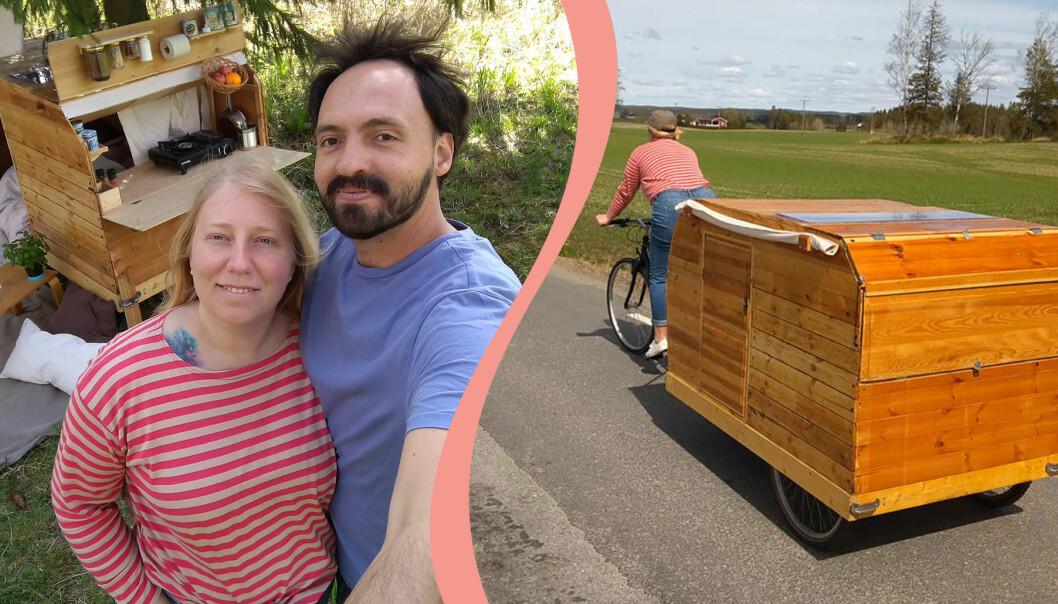Louise Tellmo och Mario Andrade med sin hemmabyggda cykelhusvagn.