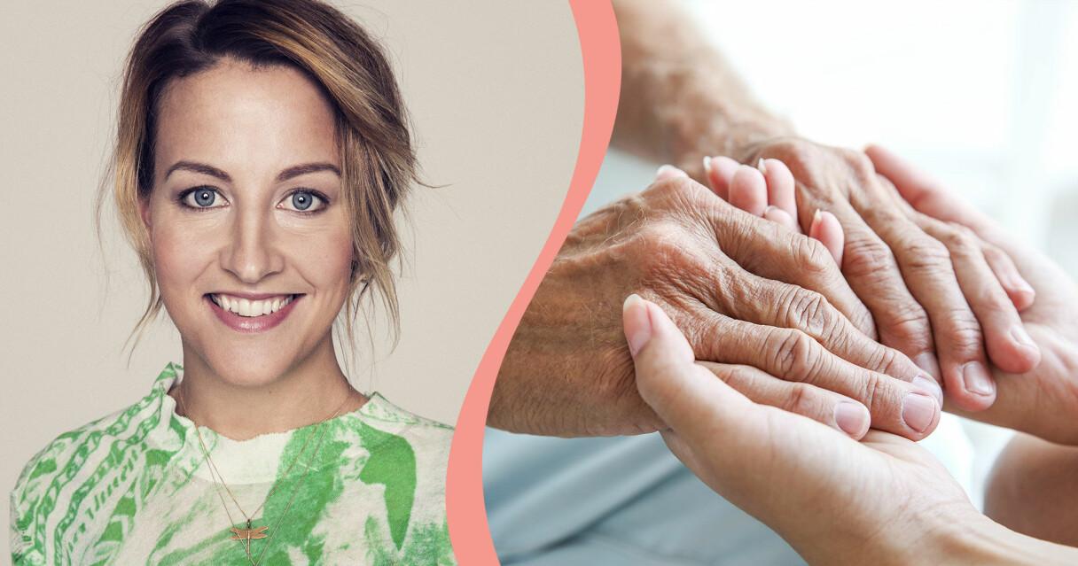 Therese Krupa och en bild på två par händer som håller i varandra.