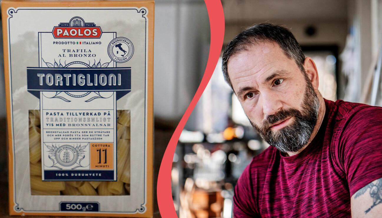 Till vänster: Pasta från varumärket Paolos. Till höger: Paolo Roberto