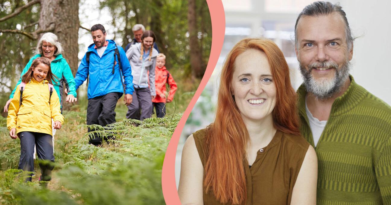 Till vänster syns en familj som vandrar i skogen, till höger syns vandringsexperterna och författarna Ina Hildeman och Kenneth Joelsson.