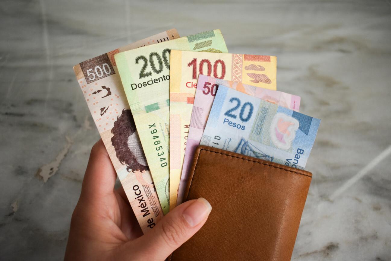 Mexikanska pesos i plånbok.