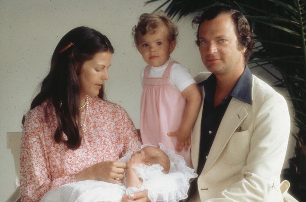 Kungafamiljen med sitt nytillskott prins Carl Philip, 1979.