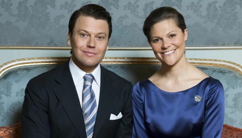 Daniel Westling och kronprinsessan Victoria när de offentliggjorde sin förlovning.