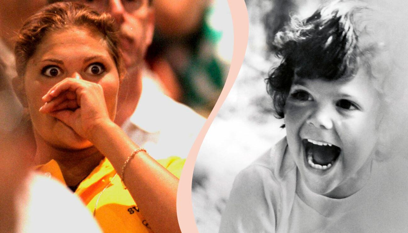 Till vänster: Kronprinsessan Victoria på OS i Atlanta. Till höger: en liten prinsessa ler glatt.