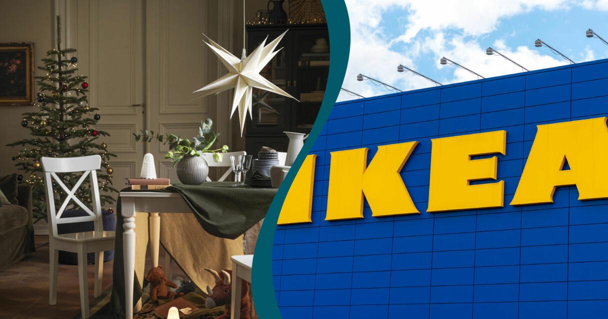 En kombinerad bild på delar Ikeas julkollektion och en stor Ikea-logga.