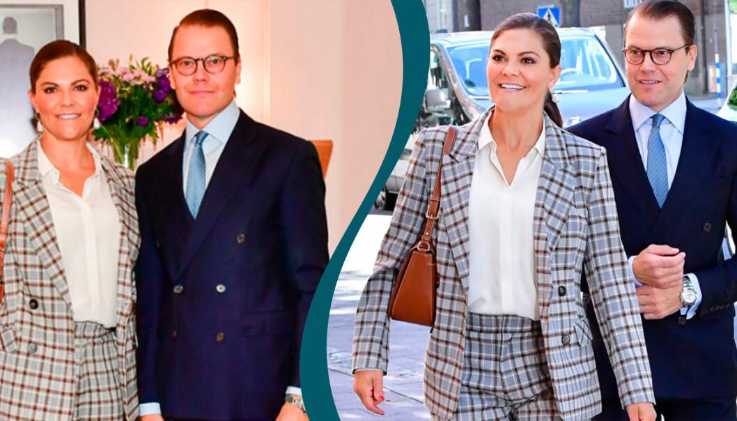 Victoria i rutig kostym och Daniel i blå kostym.