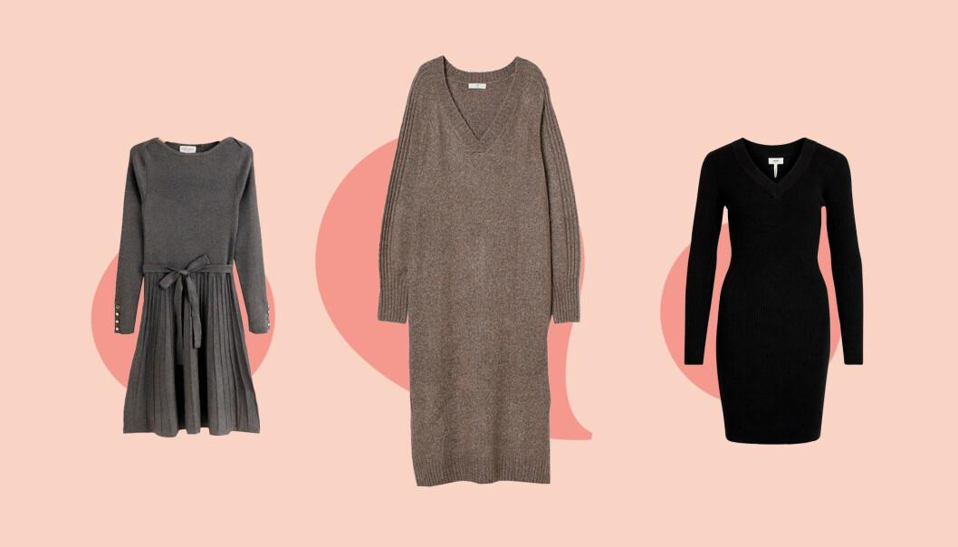 Tre olika stickade klänningar under 600 kronor.