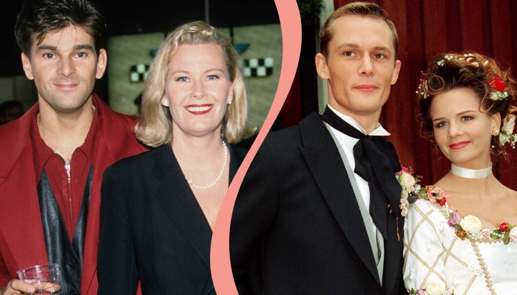 Delad bild. Till vänster syns Niklas Strömstedt och Efva Attling fotograferade 1993. Till höger gifter sig Måns Herngren och Lena Philipsson 1993.