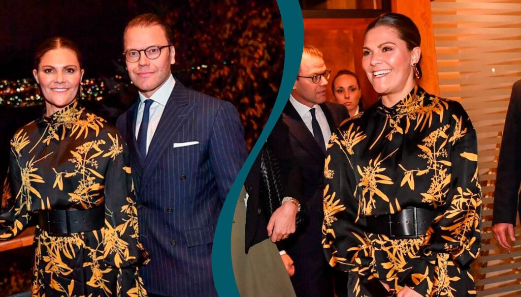 Victoria i sin snygga höstklänning inspirerad av Asien.
