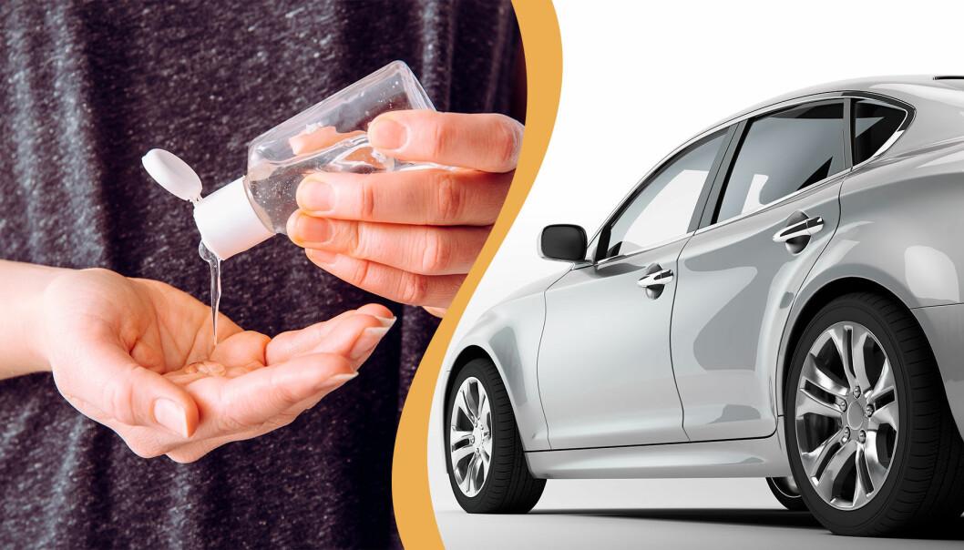 Till vänster: En kvinna använder handsprit. Till höger: En bil.