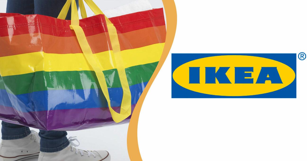 Ikea logga samt pridebärkassen Storstomma – Frakta i regnbågsfärger