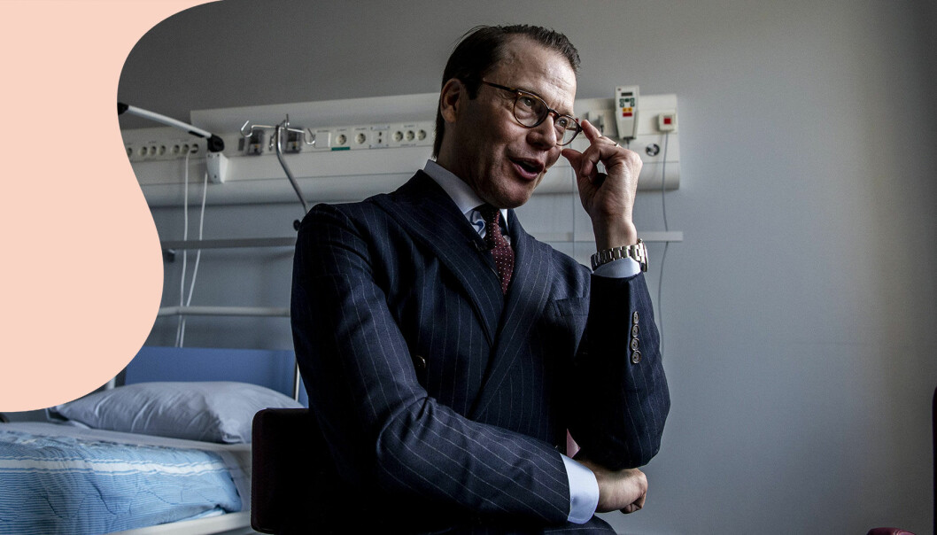 Prins Daniel på besök hos transplantationskirurgiska kliniken på Karolinska universitetssjukhuset i Huddinge, maj 2019.