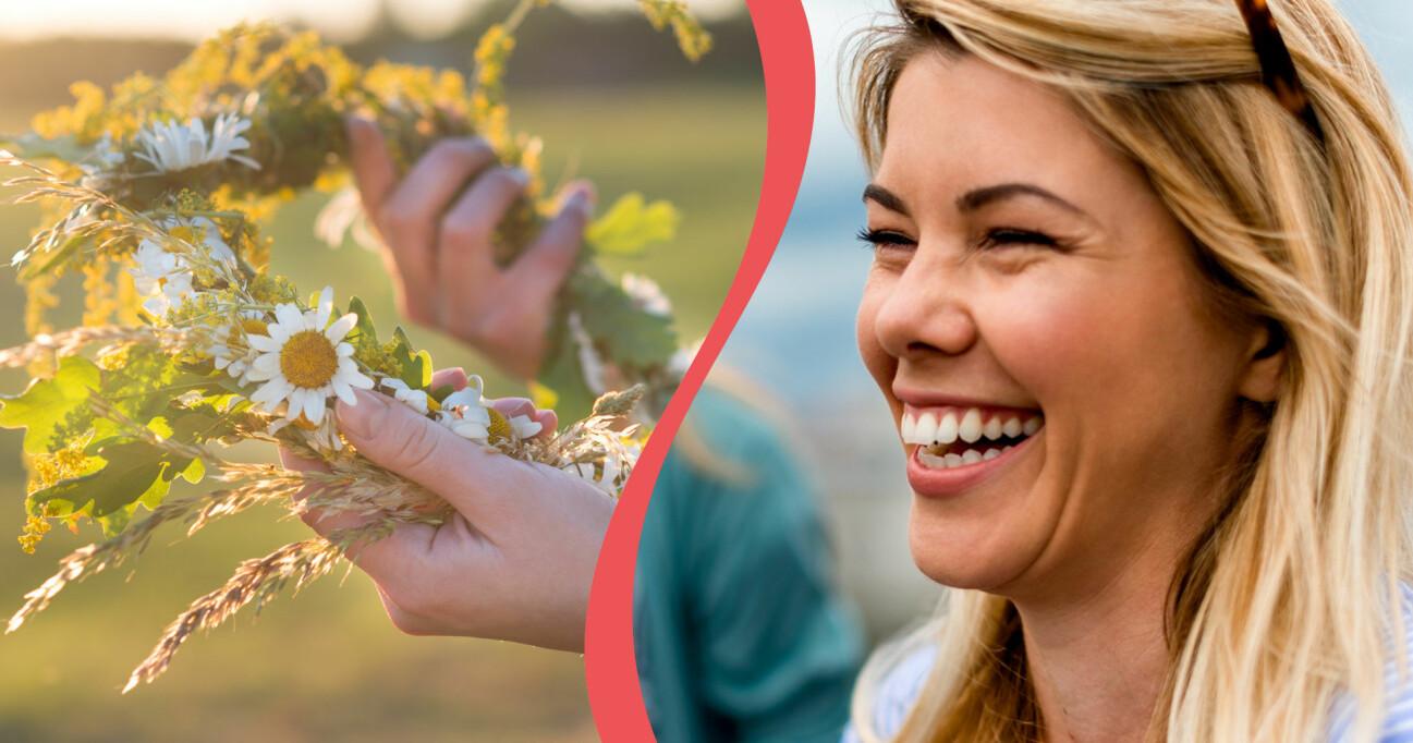 Midsommarkrans och leende kvinna.