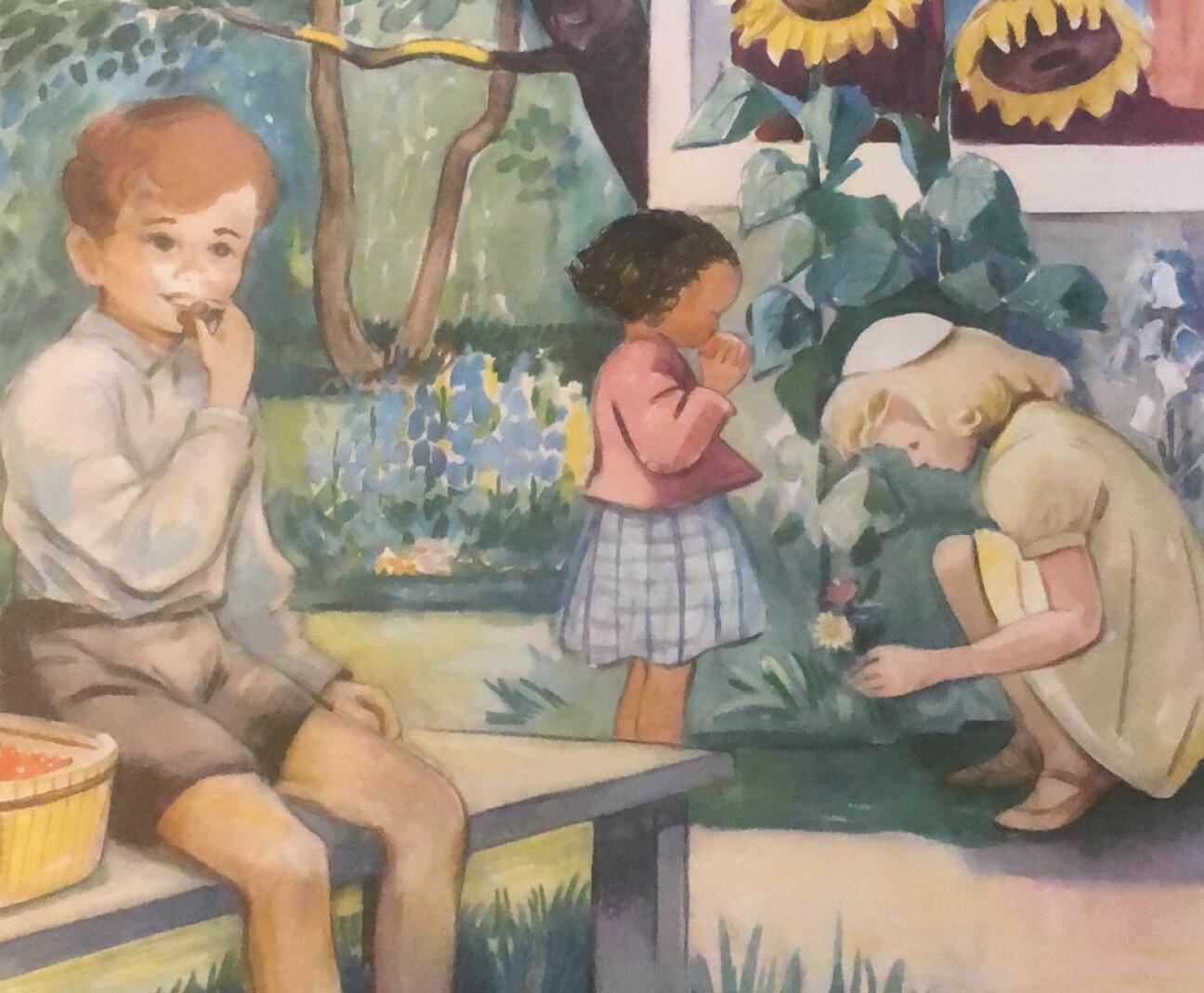 Ommålad kalenderbild. Tre barn mumsar på frukt och plockar blommor i en somrig trädgård. En av flickorna har getts mörk hud och svart, lockigt hår.
