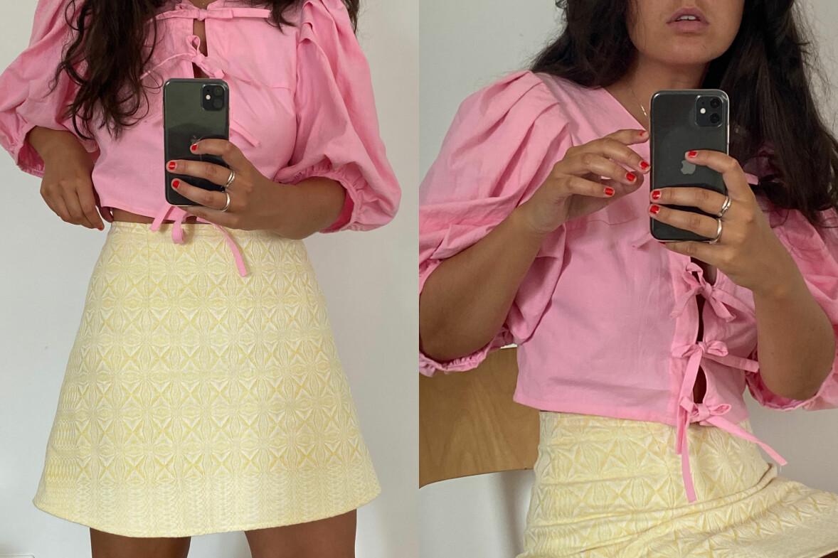 Maja visar upp en ljusrosa puffärm med knytdetalj och en citrongul minikjol.