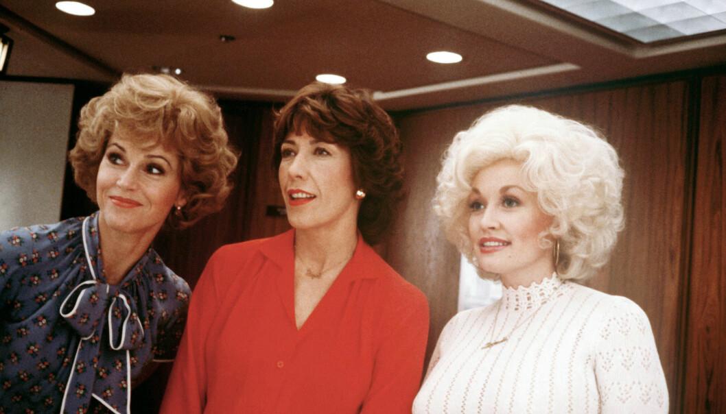 """Jane Fonda, Lily Tomlin och Dolly Parton i filmen """"9 till 5""""."""