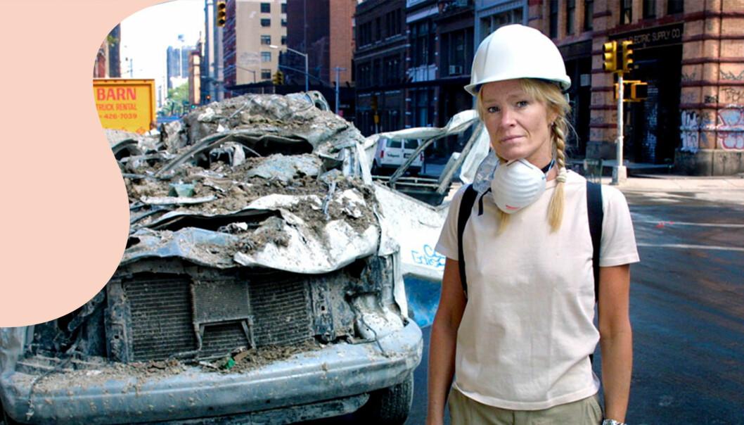 Trasiga bilar på gatorna efter 11 september.