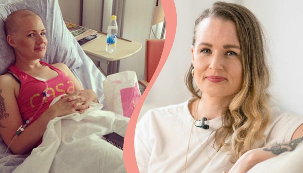 Delad bild. Till vänster syns Jeanette Sjöblom, som drabbades av tarmcancer, i sjukhussängen. Till höger syns hon hemma i sin lägenhet.
