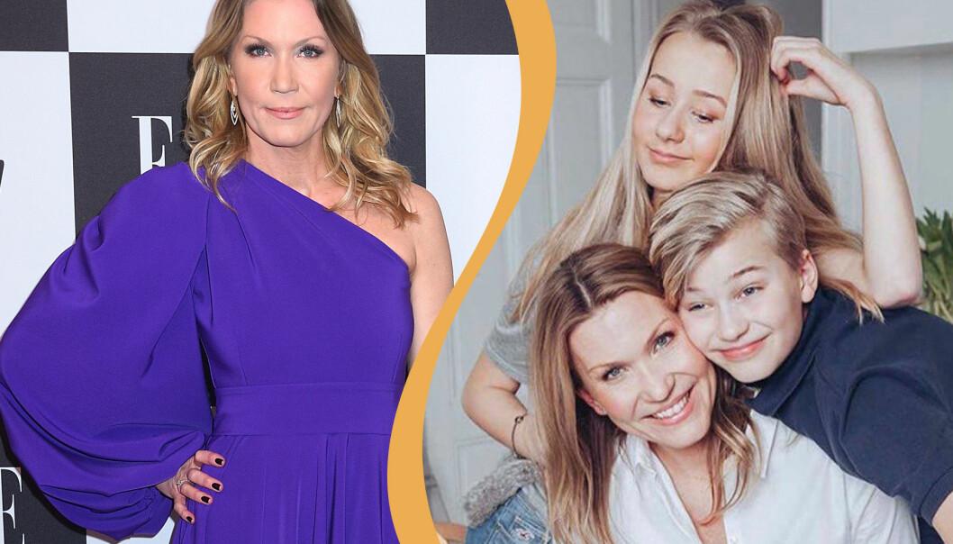 Jenny Alversjö på Elle-galan tidigare i år samt bild från hennes Instagram på hennes familj.