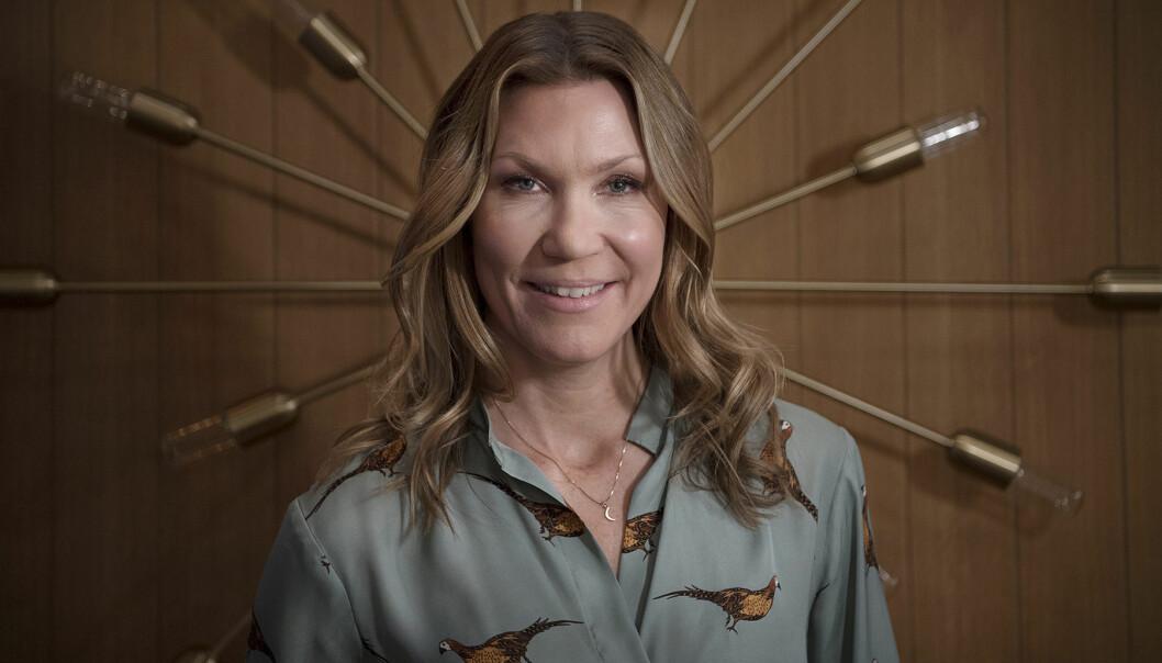 Jenny Alversjö, som precis fått en stroke, fotograferad i TV4-studion