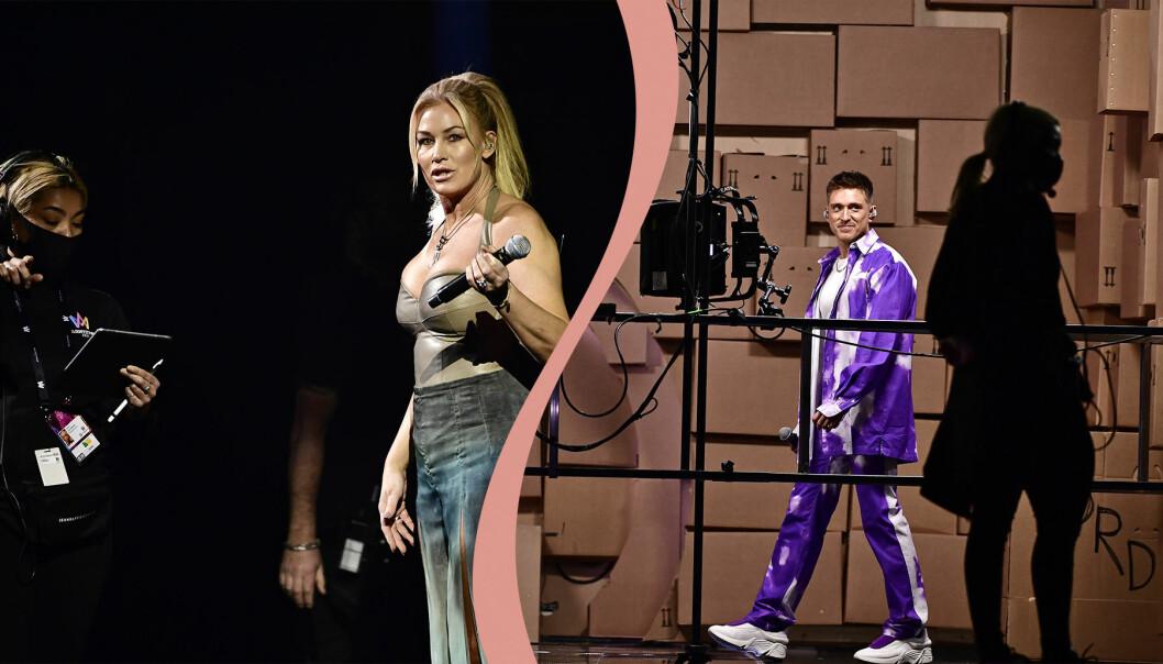 Jessica Andersson, Danny Saucedo och personal med munskydd i Melodifestivalen 2021.