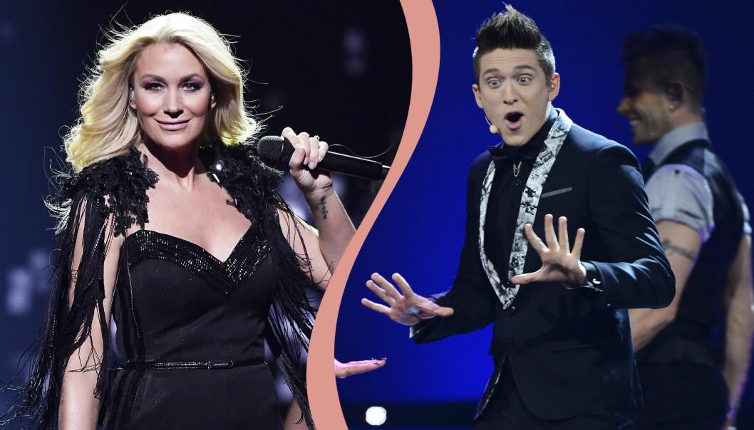 Jessica Andersson och Danny Saucedo i Melodifestivalen.
