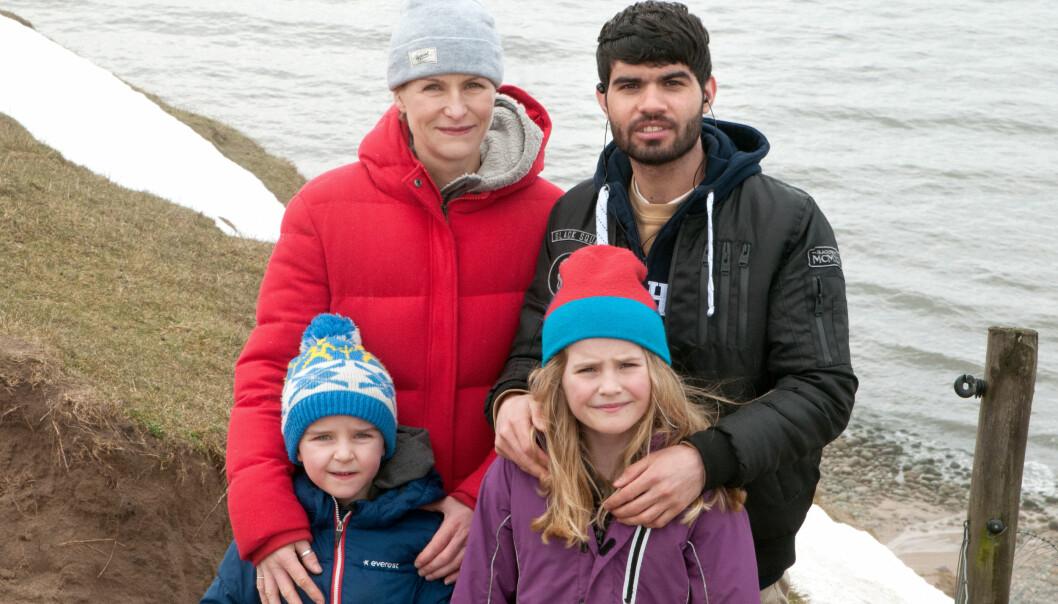 Joanna Ågren och Sha Mohammadi med barnen Tim och Selma.