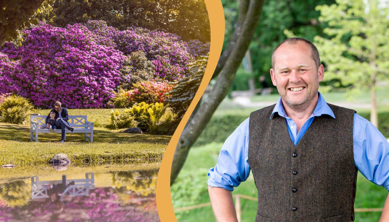 Delad bild. Till vänster: Ett underbart landskap på Sofiero. Till höger: John Taylor.