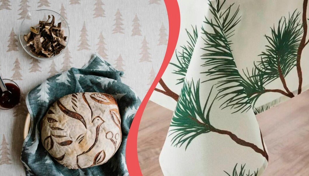 Juldukar med granar och tallar.