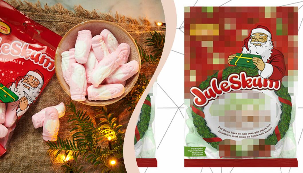 Till vänster juleskum originalet, till höger pixlad bild årets smak av juleskum.