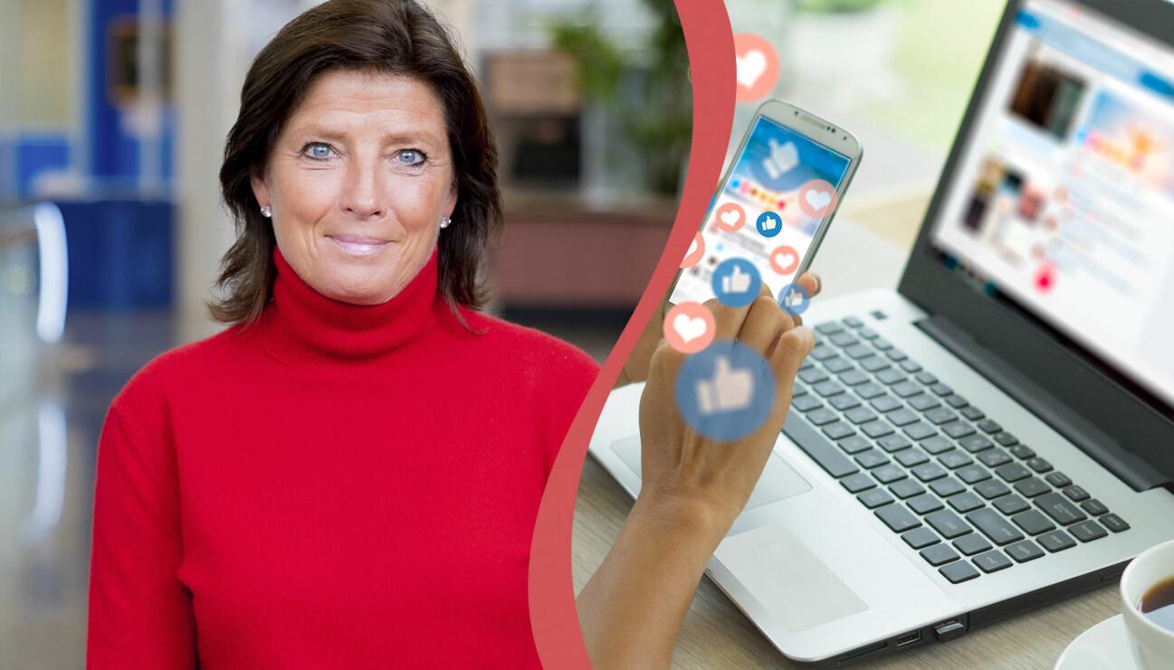 Juristen Caroline Törnquist och en dator med sociala medier.