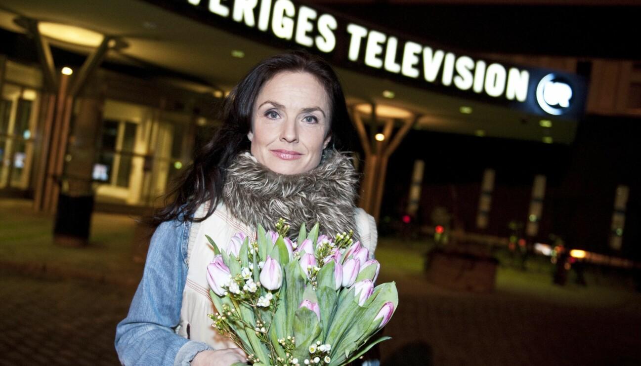 Justine Kirk fotograferad utanför Sveriges television i Stockholm 2012.