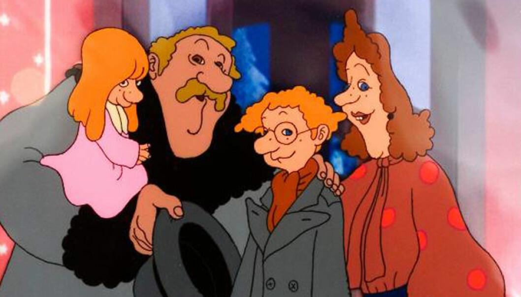 Karl-Bertil Jonsson tillsammans med sina föräldrar och lillasyster i den tecknade kortfilmen som SVT visar varje julafton.