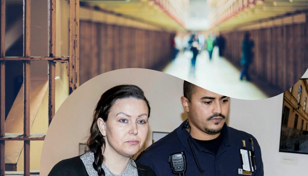 Johanna Möller förs in i rättssalen under den långa processen mot henne.