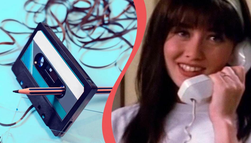 Kasettband intrasslat och Brenda i Beverly Hills som tjuvlyssnar i telefonen.
