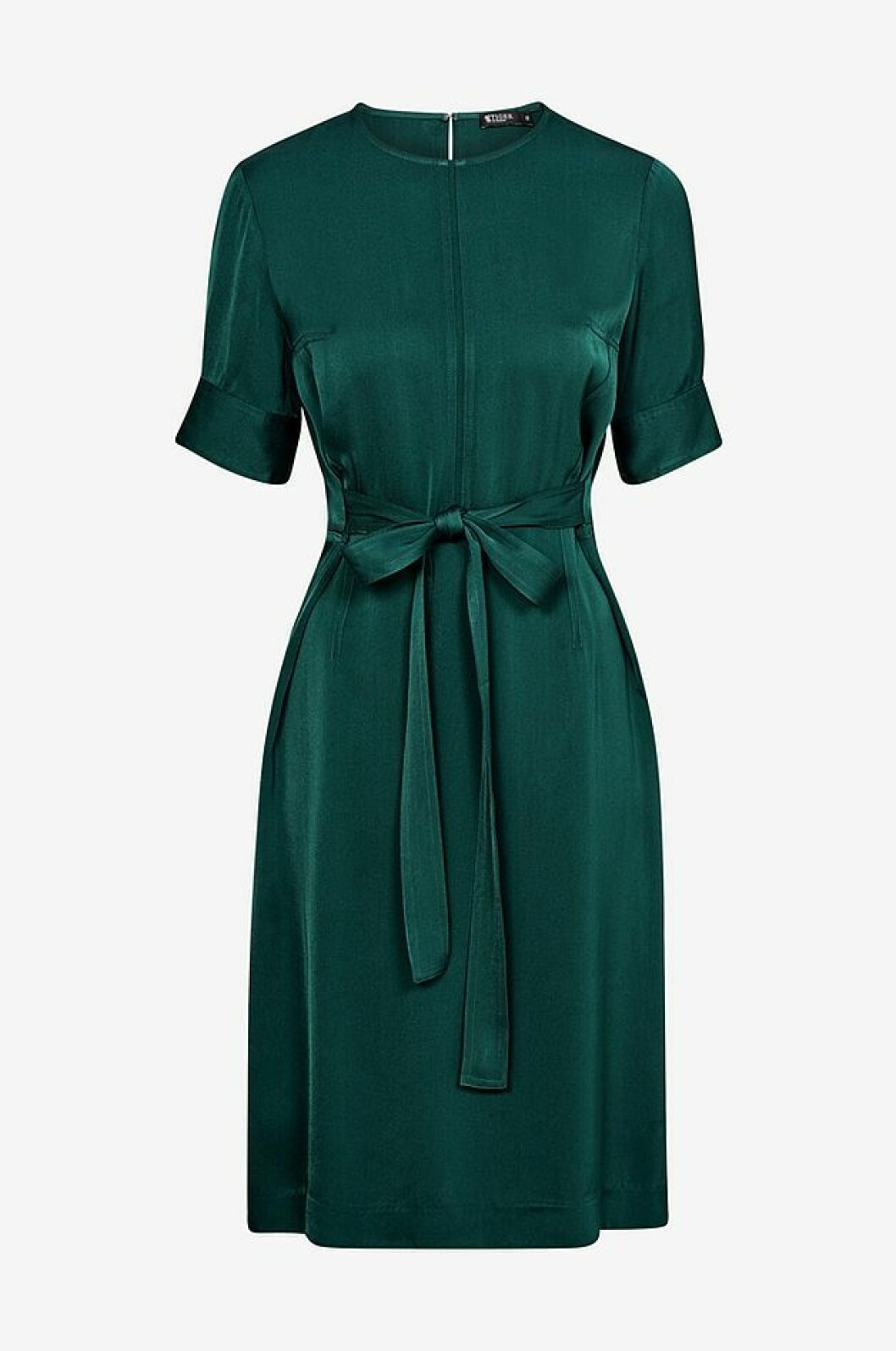 Mörkgrön klänning med knytband