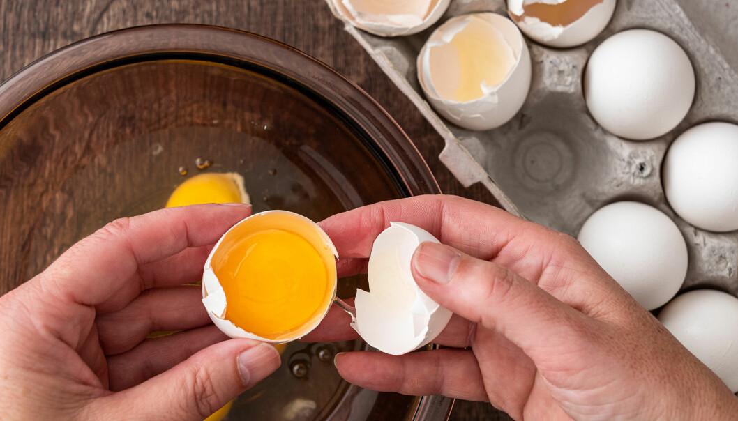 Händer som knäcker ett ägg i en skål.