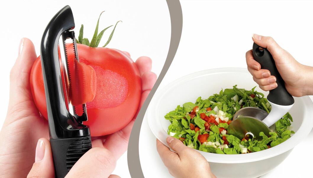 Tomatskalare och salladsskål med skärare