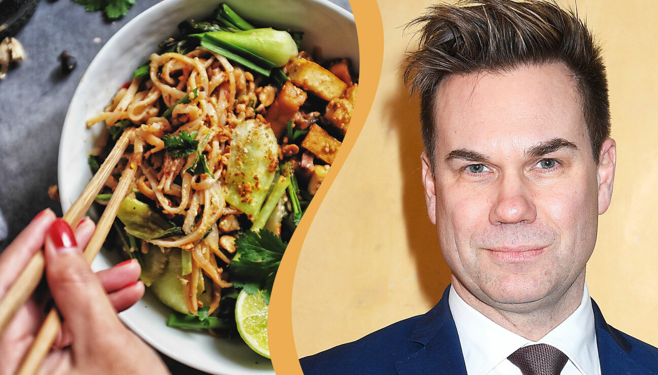 Kollade av maträtten pad thai och Nyhetsmorgons programledare Anders Pihlblad.