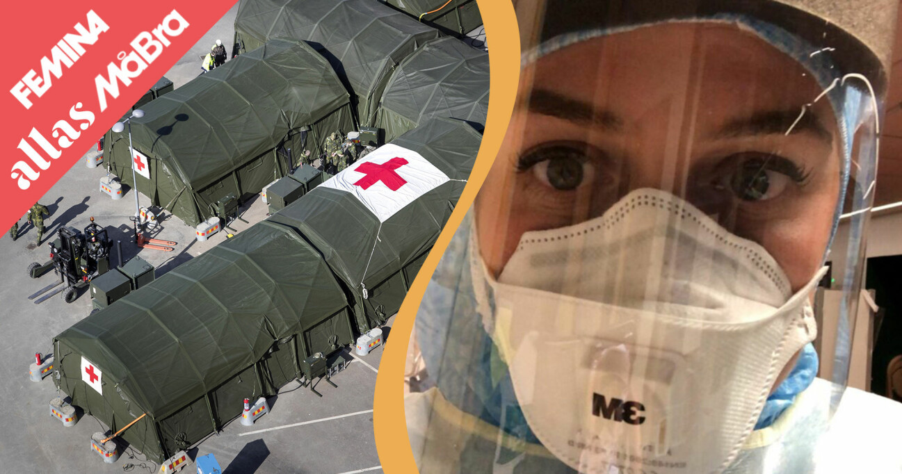 Kollage av akutsjuksköterskan Matilda Nygren i skyddsvisir och sjukhusbaracker.