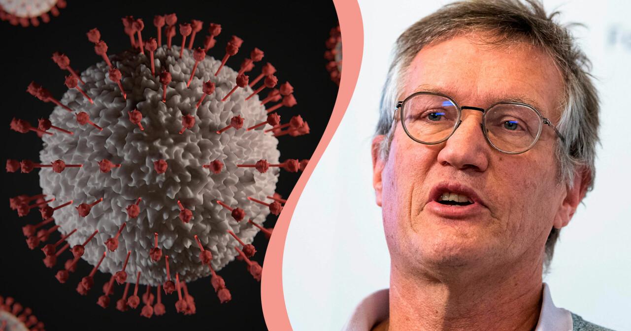 Kollage av coronavirus i närbild och Anders Tegnell.
