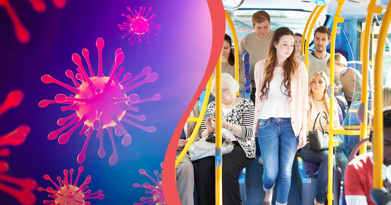Kollage av coronavirus och buss med passagerare.