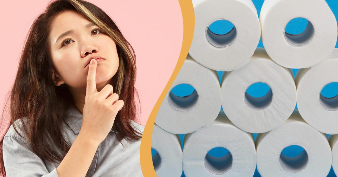 Kollage av fundersam kvinna och rullar med toalettpapper.