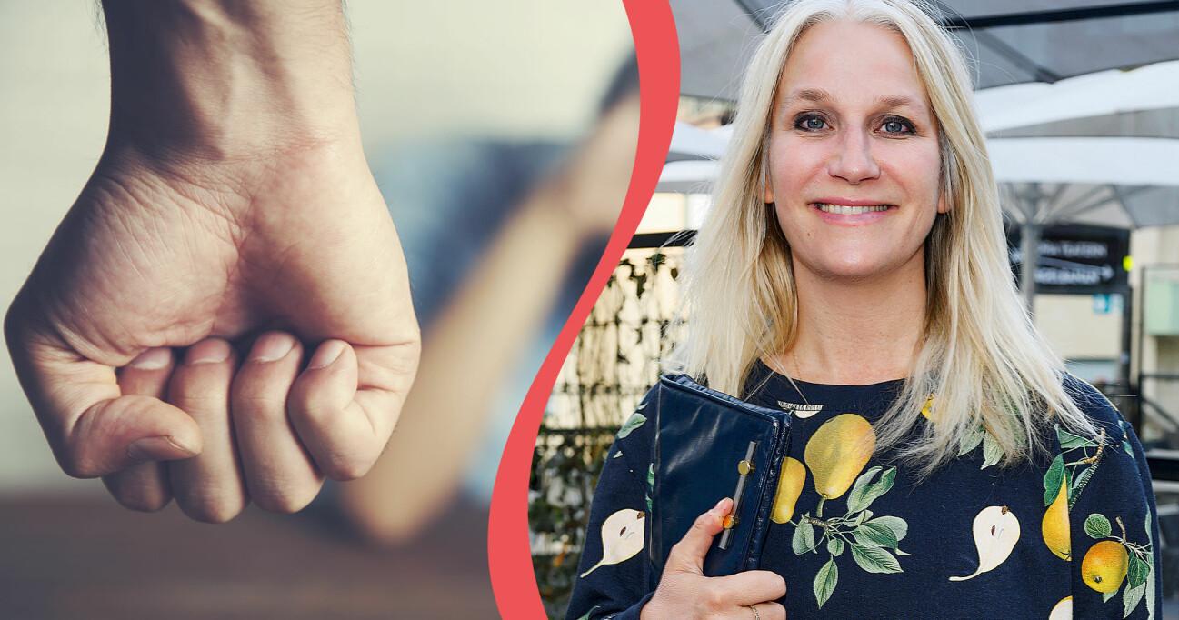 Kollage av knuten manshand och profilen Ann Söderlund som har startat initiativet Her choice.