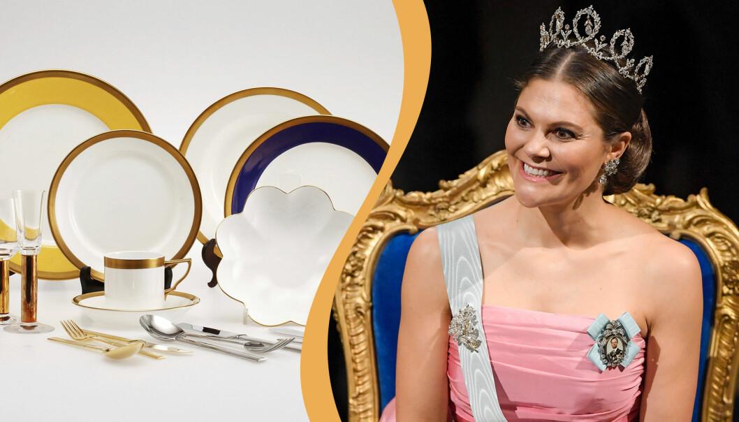Kollage av Nobelservisen och kronprinsessan Victoria.