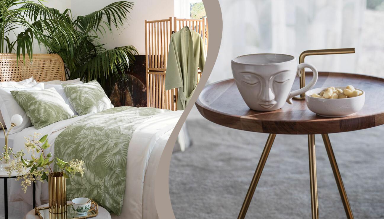 Kollage av sovrum och ett bord med en kopp och en skål.
