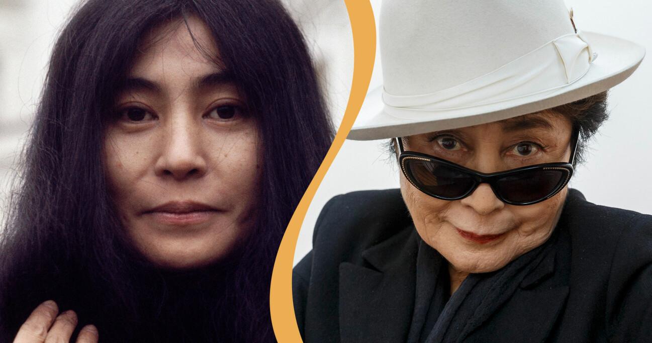Kollage av Yoko Ono på 1960-talet och i dag.