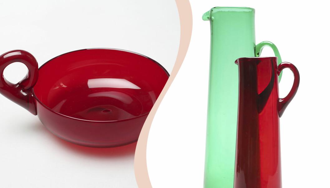 Till vänster röd skål med öra, till höger en grön karaff och en röd.