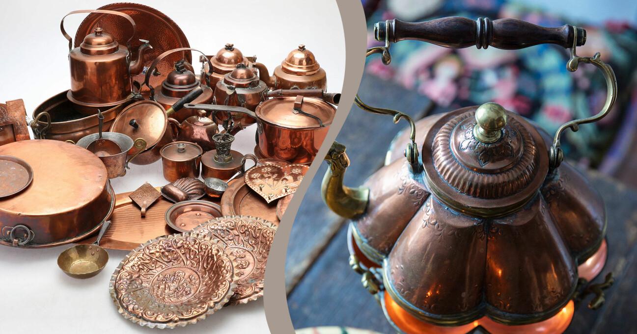 En kombinerad bild av kopparprylar till salu och en vacken tekanna gjord i koppar.